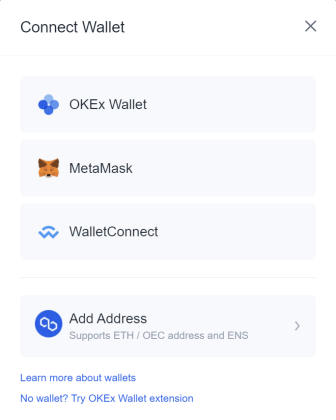 okex connect wallet nft