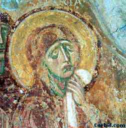 Detail of fresco showing Mary at the cricifixion