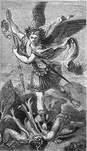St. Michael & Satan, after Raphael: from a 19thC BCP