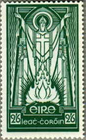 Irish postage stamp: St. Patrick & the paschal flame