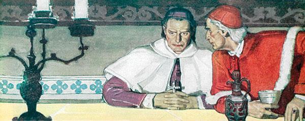 Catholic bishop listening to cardinal