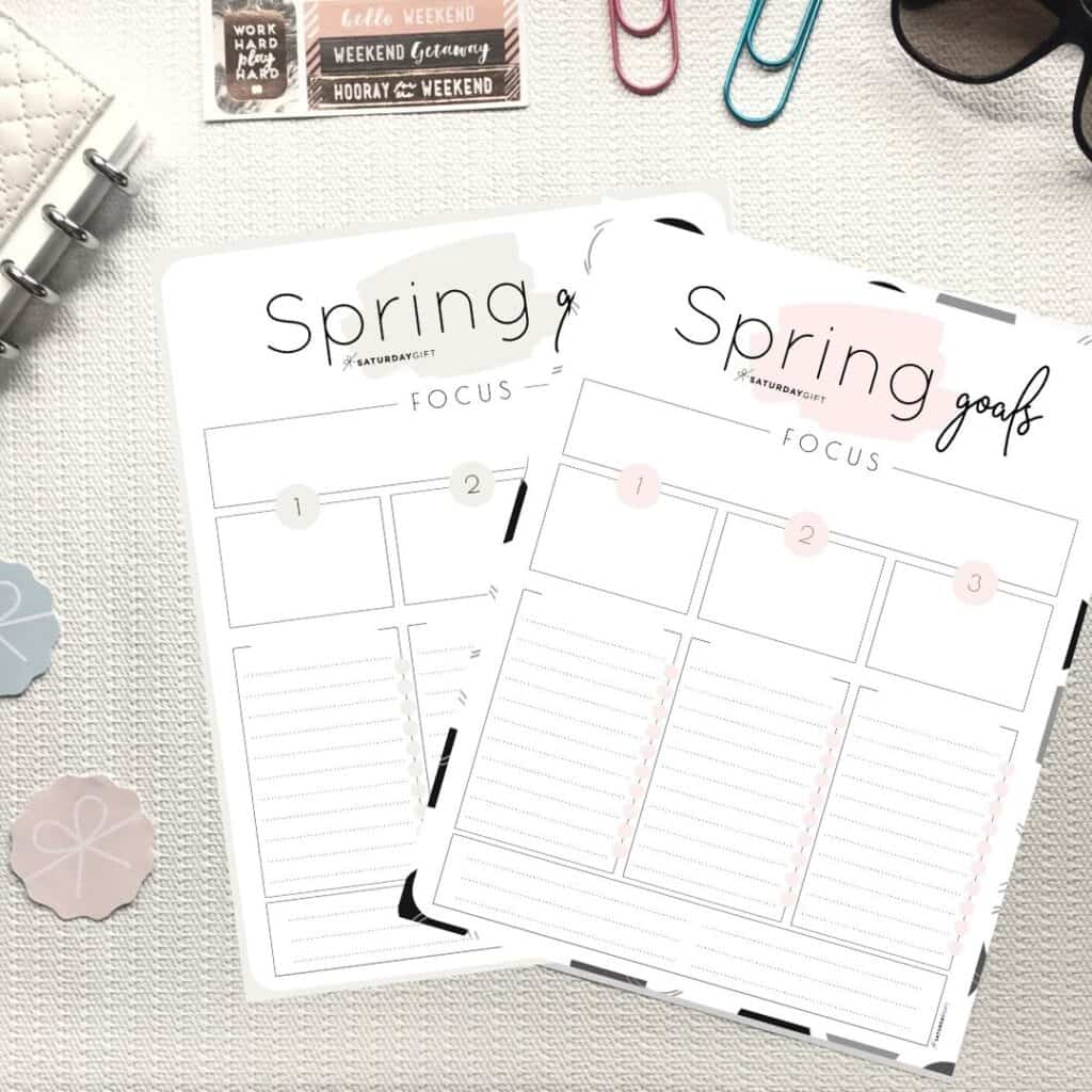 Set And Achieve Spring Goals Printable Worksheet