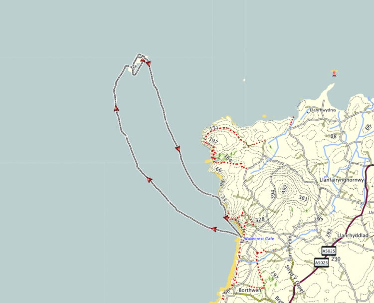 Map of the Skerries and our GPS track