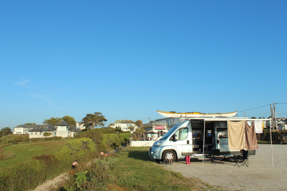 Beach Camping with awning out at Trevone