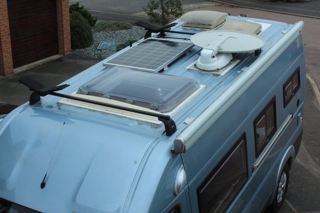 Roof lights Satellite dish and solar panel