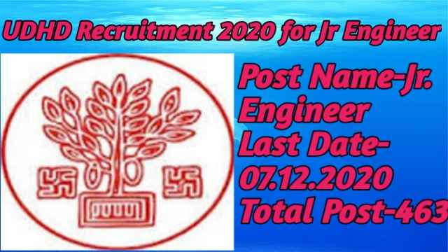 UDHD Recruitment 2020 for Jr Engineer