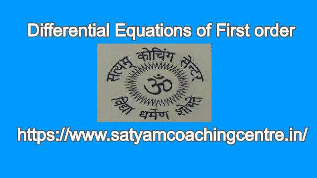 Differential Equations of First order