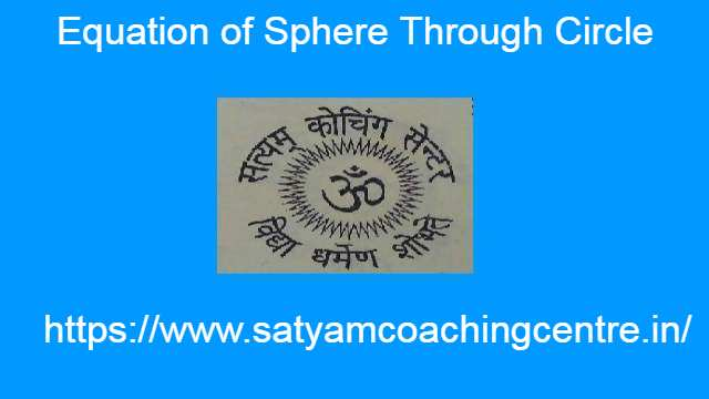 Equation of Sphere Through Circle