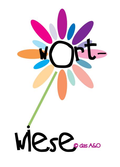"""Illustration einer lila-orange Blume mit der eingefügten Beschriftung """"Wortwiese"""""""