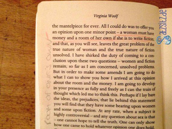 Abfotografierte Buchseite, auf der das berühmte Zitat rot unterstrichen ist