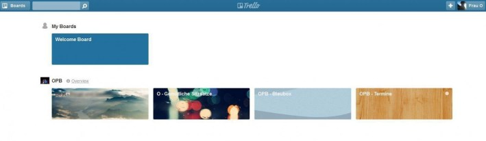 Das persönliche Dashboard von das A&O im Tool Trello: vier Boards werden angezeigt