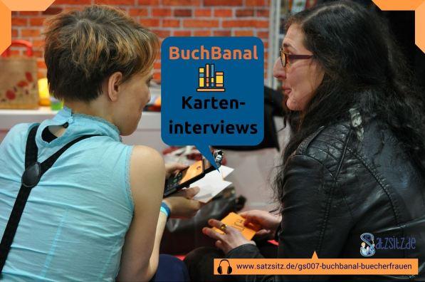 das A&O interviewt Miriam Spies, sitzend am Verlagsstand auf der Leipziger Buchmesse 2015