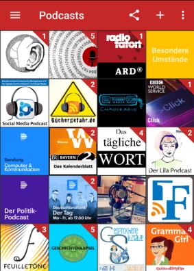 Screenshot aus dem Podcatcher, 20 bunte PodcastCover in der Übersicht
