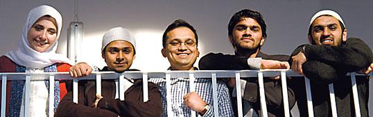 emel's staff, from left: Sarah Joseph, editor; Ruh al-Alam, designer; Mahmud al-Rashid, publisher; Omair Barkatulla, senior designer; Rajul Islam Ali, art director.