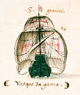 But what do the Portuguese call their ocean-going ships? Nau. Yes, nau as in Hindi, for boat. Vasco da Gama's ship, was illustrated in the Libro das Armadas in 1497. (ACADEMIA DAS CIENCIAS DE LISBOA / GIRAUDON / BRIDGEMAN ART LIBRARY). Picture saudiaramcoworld.com