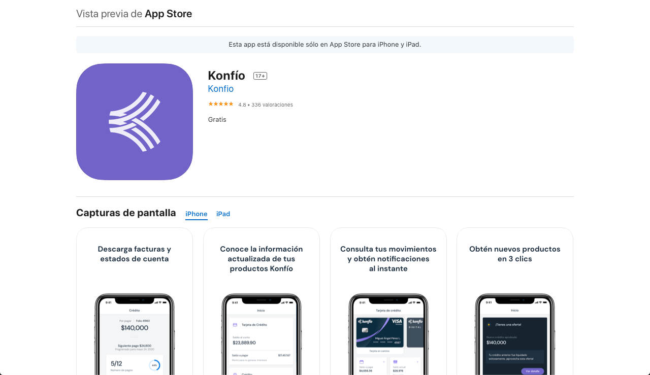 Konfío native iOS app