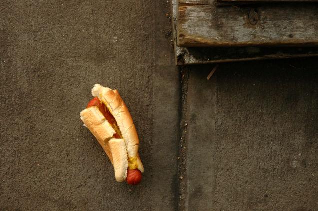 hotdog on the ground