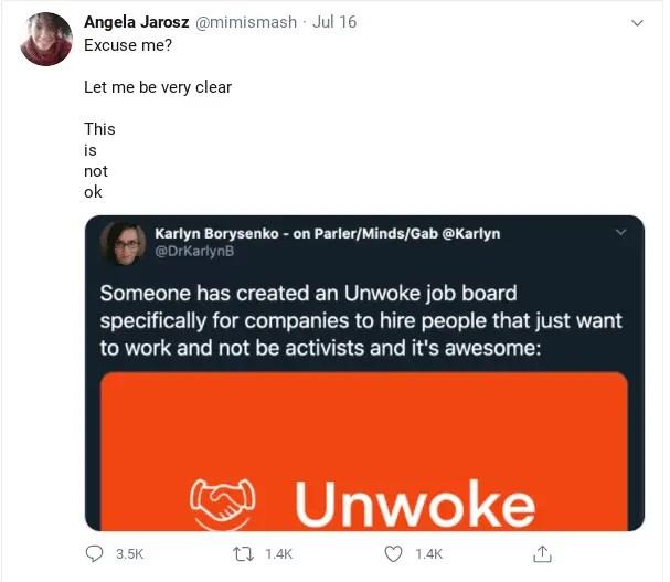 Angela Jarosz wants to cancel Unwoke