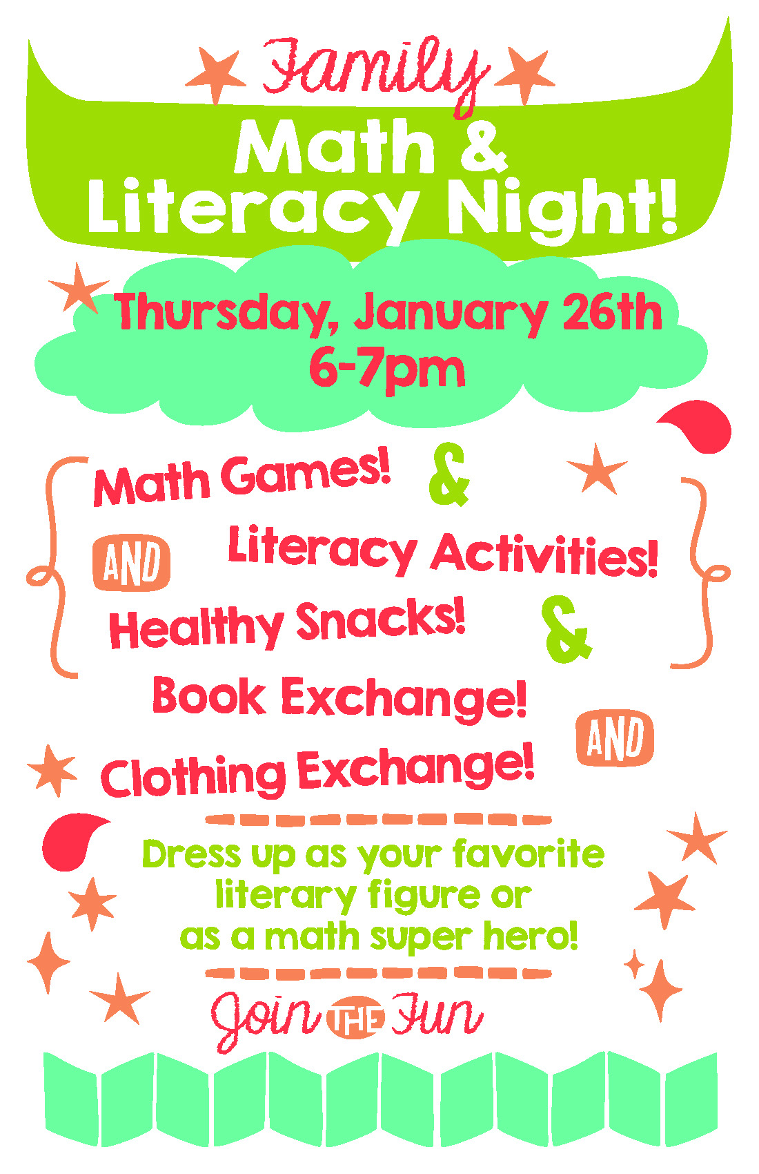 Family Math and Literacy Night, Clothing and Book Exchange ...