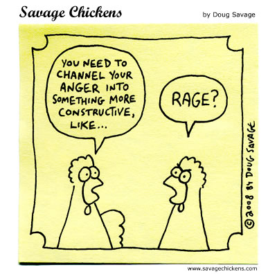 cartoon of two chickens talking