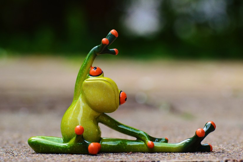 stretching green frog