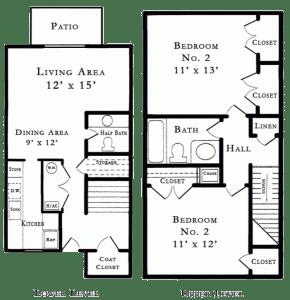 2 Bed / 1½ Bath / 937 sq ft / Rent: Please Call