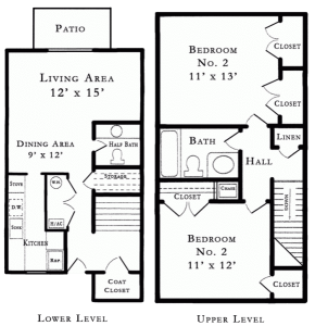 2 Bed / 1½ Bath / 937 sq ft / Rent: Please Call