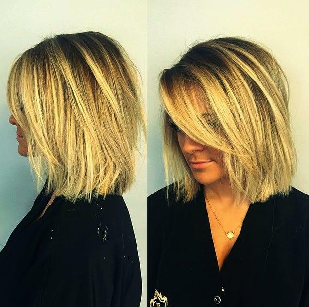 Wunderschönen Frisuren für Dünnes Haar Bob Ideen Stumpfer blonder Bob mit Schichten