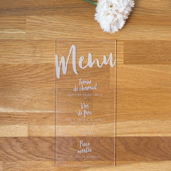 menu de mariage transparent plexiglas plexi