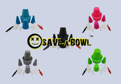 image of 5 color silicone cleaning plugs for bongs