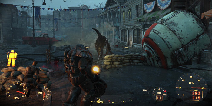 The new look/feel for power armor works really well with the Brotherhood's turn to Warhammer Space Marine antics.