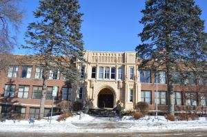 Ornate Gothic arches are seen at one of the entrances to Franklin Middle School. Built in 1923, the school, at 20th Street and B Avenue NE, is one of the contributing structures in the new B Avenue NE Historic District in Cedar Rapids. (photo/Cindy Hadish)