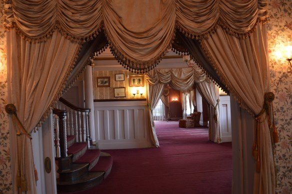Plush curtains are among the Victorian-style decor in the George B. Douglas mansion. (photo/Cindy Hadish)