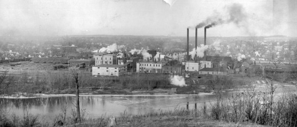 The T.M. Sinclair & Co. plant is viewed from across the Cedar River in this undated photo from Brucemore.