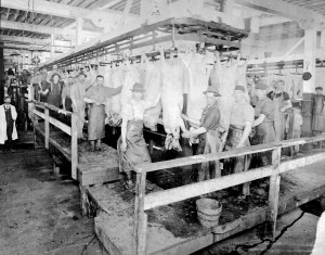 Sinclair & Co. workers are shown inside the plant in the early years of the Cedar Rapids packing house. (photo/Brucemore)