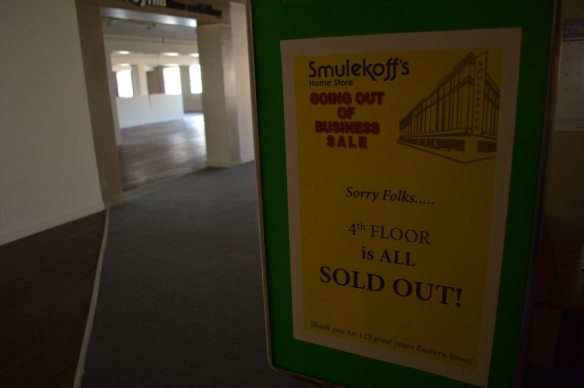 Floors of Smulekoff's Home Furnishings were cleared out as items were sold before the store closed in November 2014. (photo/Cindy Hadish)