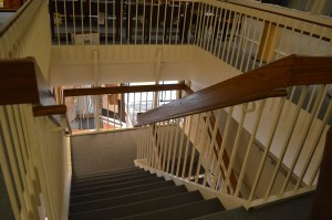 A staircase is shown inside the Smulekoff's building in downtown Cedar Rapids. Potential buyers have a chance to view the building on Monday, March 3, 2015. (photo/Cindy Hadish)