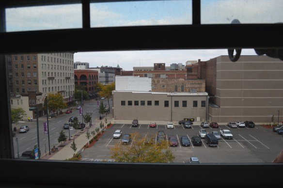 A view of downtown Cedar Rapids can be seen from one of the upper floors of the Smulekoff's building. The city is accepting bids to redevelop the building. (photo/Cindy Hadish)