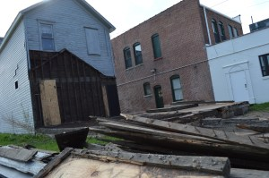 Only the outline of the immigrant home remained after the building in New Bohemia was demolished. (photo/Cindy Hadish)