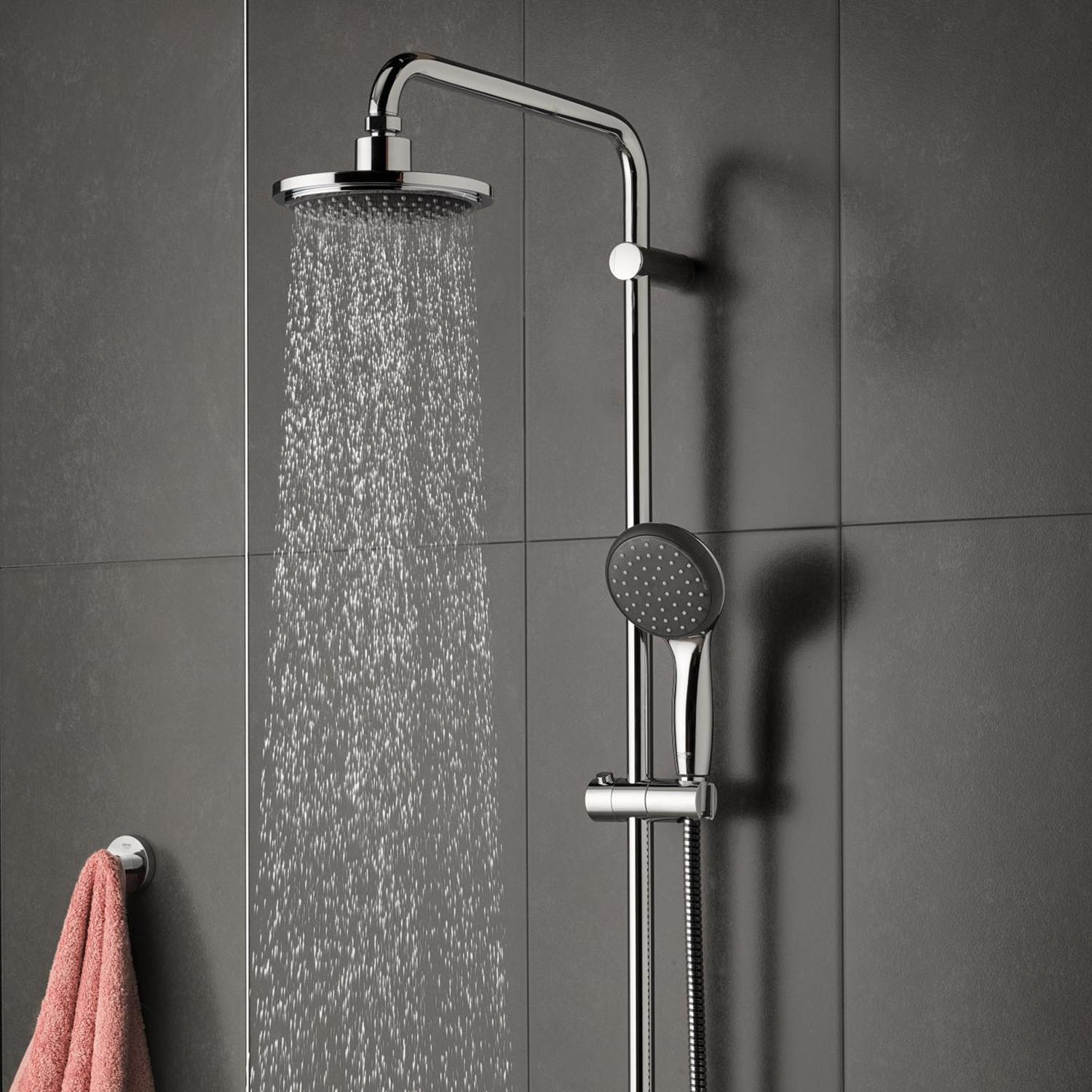 grohe vitalio start 160 shower system with thermostatic mixer chrome