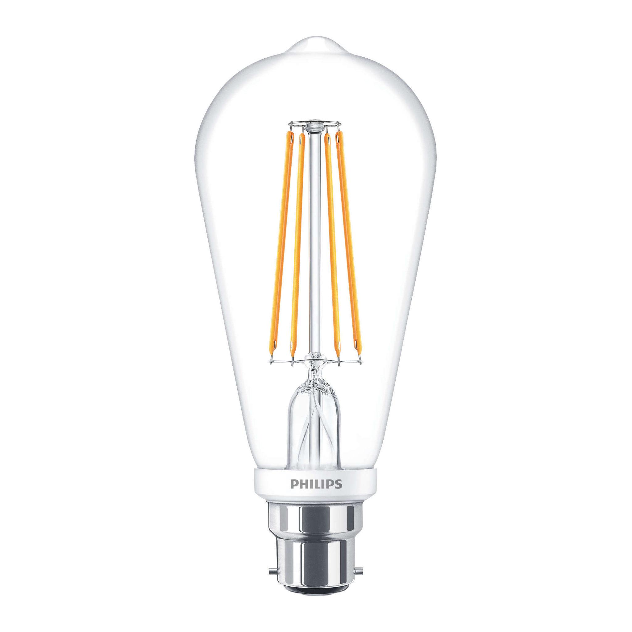 Philips Large Led Filament Bulb Clear St64 B22 7w K