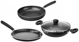 Solimo Induction & Gas Compatible Non-Stick Cookware Set of 3 Rs. 1325 – Amazon image