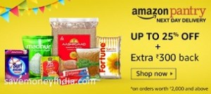 Amazon Pantry upto 50% off + Rs. 100 Cashback on Rs. 1000, Rs. 300 Cashback on Rs. 2000 image
