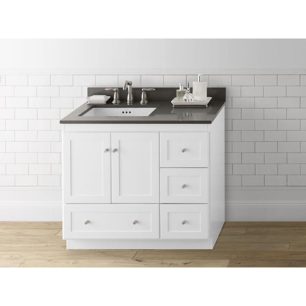 36 shaker bathroom vanity cabinet base in white wood doors on left