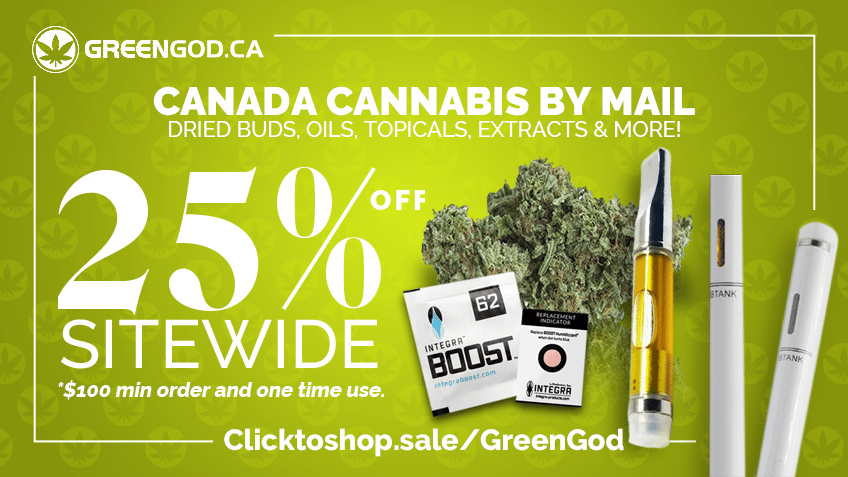 Green God Coupon Codes - Online Cannabis Mail Order Canada - Marijuana Online Discount Codes - Save On Cannabis Promo
