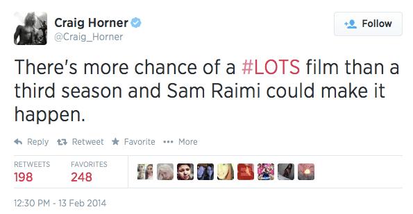 Craig Horner Tweet