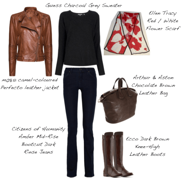 Closet-Wardrobe-Honeycomb-Sweater-Guess-Dark-Charcoal-Grey-Knee-High-Boots-Silk-Ellen-Tracy-Red-Poppy-Scarf