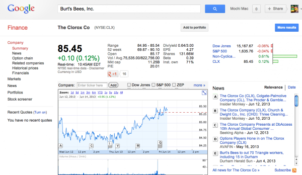 Google-Finance-Navigate-Search-Clorox