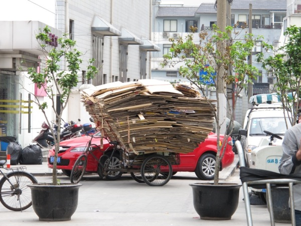 Shanghai-China-Photograph-Recycling-Cardboard-Cartons-Poor