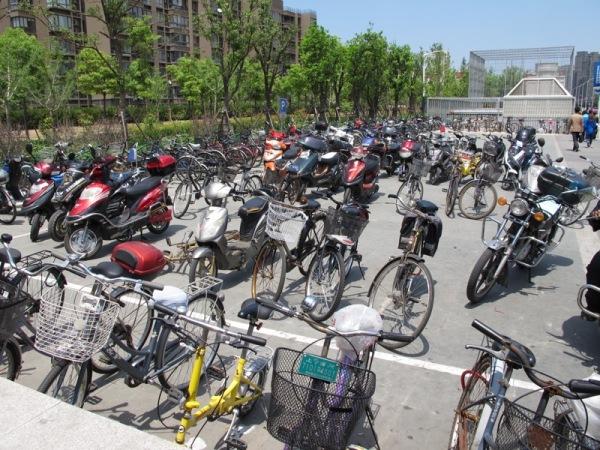 Shanghai-China-Traffic-Bicycles-Metro-Station-Commute